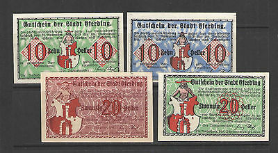 Austria NOTGELD ERFERDING 24.NOVEMBER.1919  Set of 4 UNC