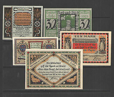 German NOTGELD TONNDORF-LOHE # L1297a Complete Set of 5 UNC