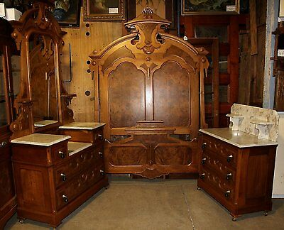 Victorian 3PC Burled Walnut Marble Bedroom Set High Bed Deepwell Dresser Commode