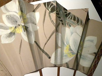 4428. Circa 1890's Japanese Paper Hand Fan painted flowers wood & string frame