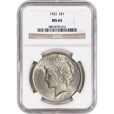 1922 US Peace Silver Dollar $1 - NGC MS65