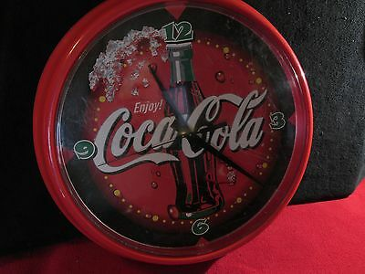 COCA-COLA Old DINER Style SODA ADVERTISING Coke WALL CLOCK Works Large 13""