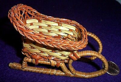 Vintage Wicker Brown and Tan Sleigh