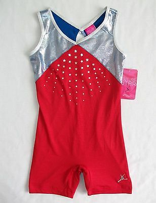 Capezio Leotard Biketard Girls Patriotic Red Stars Blue Foil NWT
