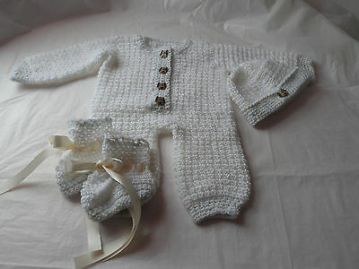 Baby Set.white.variegated.3-6 Months.romper.hat.booties.soft Baby By R H.crochet