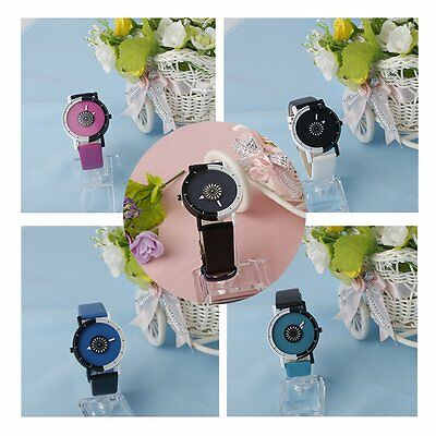 Men Women Lovers Round Shape Dual Color PU Leather Student Quartz Wrist Watch AU