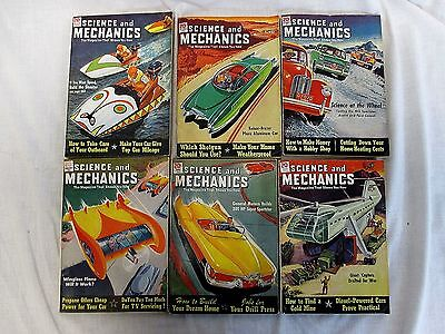 Lot 6 Vintage Issues SCIENCE & MECHANICS Magazine 1951 - Color Pulp Covers (579)