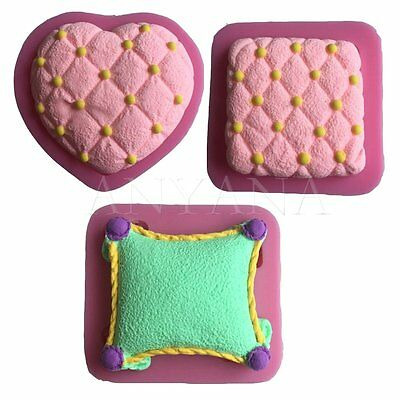 3x Pillow fondant cake decorating tools Cushions mold silicone mould sugarcraft