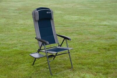 Quest Ragley Pro Blue Recline Comfort Chair & Side Table | Outdoor Camping