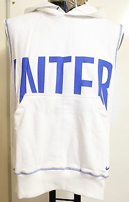 Inter Milan White Sleeveless Hoody By Nike Size Adults Large Brand New With Tags