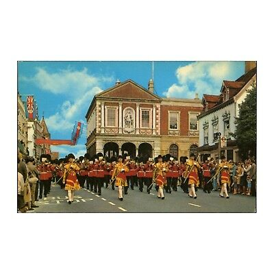 Massed Bands Of The Household Division Pass By The Guildhall - Windsor Postcard