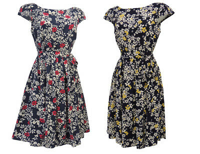 New Ladies Ditsy Floral WWII 1930's/1940's Vtg style Land Girl Swing Tea Dress