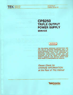 Service Manual With Operation Manual For Tektronix Cps 250