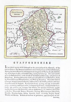 OLD ANTIQUE MAP STAFFORDSHIRE c1780's by JOHN SELLER