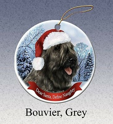 Dear Santa Define Naughty Ornament - Grey Bouvier des Flandres HO034