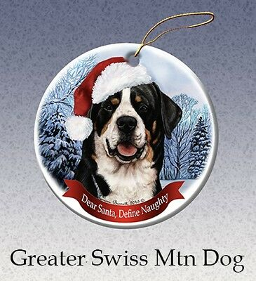 Dear Santa Define Naughty Ornament - Greater Swiss Mountain Dog HO123