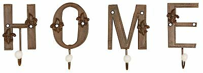 Rustic Cast Iron HOME Letter Hooks for Coats Tools etc Coathooks Indoor Outdoor