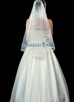 2T White/Ivory Wedding Bridal Veil Satin Edge Simple Cathedral Bride Long