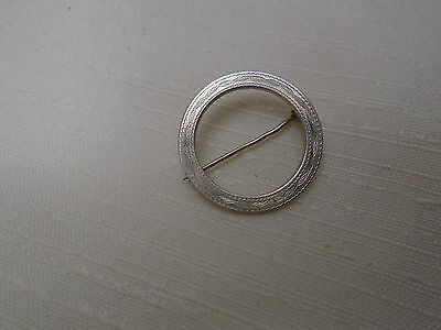 Vintage Antique Sterling Silver Round Open Pin Brooch Eternity Engraved Design