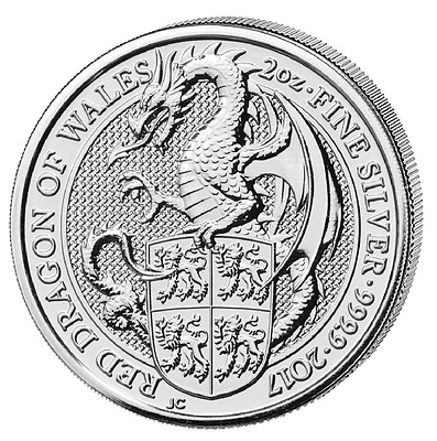 2 oz Queens Beasts Drache von Wales 999 Silber 5 Pfund Dragon of Wales 2017