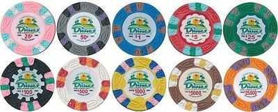(100) DUNES CASINO COMMEMORATIVE POKER CHIPS LAS VEGAS 10 Denominations Custom *