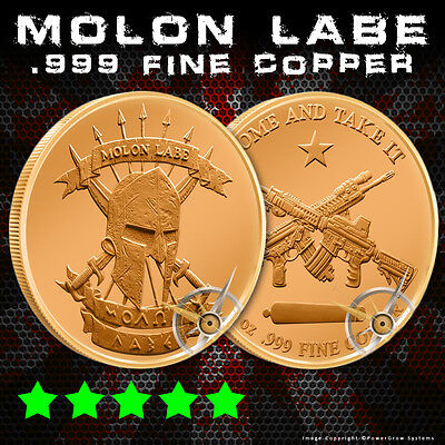 Molon Labe Copper Bullion Round 1 Oz .999 Pure - Come And Take It