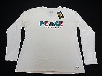 """Life is Good Women's Crusher LS Tee """"Peace Trees"""" in White - Large - NWT R$28.00"""