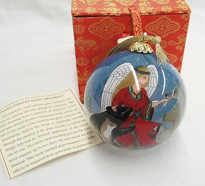 Reverse Inside Painted Glass Christmas Ornament Angel with Animals Original Box