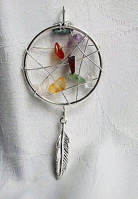 Dream Catcher Feather Natural Crystal 7 Chakra Pendant Necklace~Reiki~Jewellery