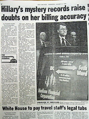 <1996 NY Post newspaper WHITEWATER SCANDAL  Rose Law Firm HILLARY CLINTON