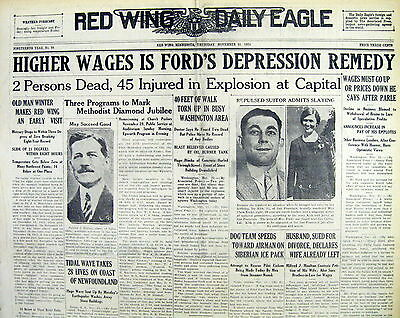 BEST 1929 headline display newspaper w early use of term for GREAT DEPRESSION
