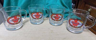 4 Vintage Advertising Mugs/cups~Canadian Mist~Clear Glass With Decals~