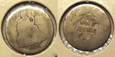 *1876 SEATED LIBERTY DIME (TYPE COIN) 10c SILVER COIN