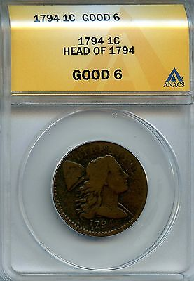 1794 1c ANACS G 6 (Good) Liberty Cap Large Cent Head of 1794