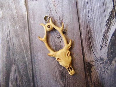 Pendant Necklace MOOSE Head From Buffalo Bone Carved with Silver 925w720