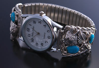 Silver &Turquoise Howling Wolf Men's Watchband- 7C08A