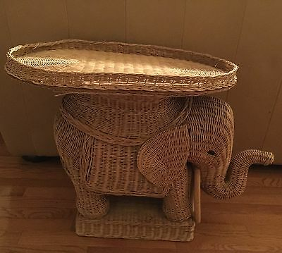 Vintage WICKER Rattan ELEPHANT Plant Stand Side Table Removable Tray