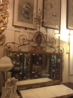Large Unbelievable Antique Detailed Gold Wall Mirror Belved French Regency