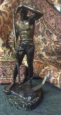 """ANTIQUE 19TH CENTURY ORIGINAL FRENCH SIGNED BRONZE STATUE """"Farm Boy With Sickle"""""""