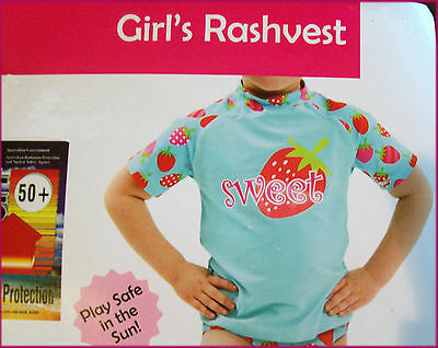 Sz 4 GIRLS Aqua TOGS Top - SURF Rash Beach RASHI / SWIMWEAR Cute Rashvest - NEW