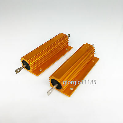 US Stock 2pcs 2 ohm 2 100W Watt Aluminum Housed Metal Case Wirewound Resistors
