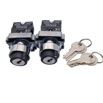2pcs BG21 XB2-BG21 2 Position N/O Locked Maintained Key Operated Selector Switch