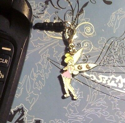 Tinkerbell Rhinestone Clip Cell Phone Charm~*Dust Plug Cover*~All Phones~$1 SHIP