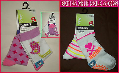 BONDS BABY Anti-Slip Socks 2Pk Sox GRIP SOLE  Sz 00-1 (0-6m) or 2-5 (18m-3y) NEW