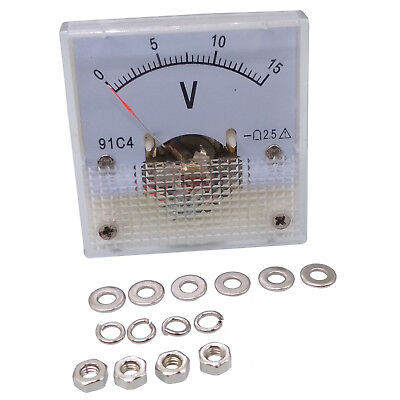 US Stock DC 0 ~ 15V Square Analog Volt Pointer Needle Panel Meter Voltmeter 91C4