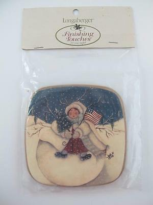 Longaberger Let It Snow Tree Trimming Basket Lid Hand Painted Winter Homestead