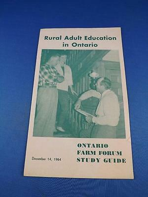 Rural Adult Education In Ontario Information Booklet 1964 Farm Fourm Study Guide