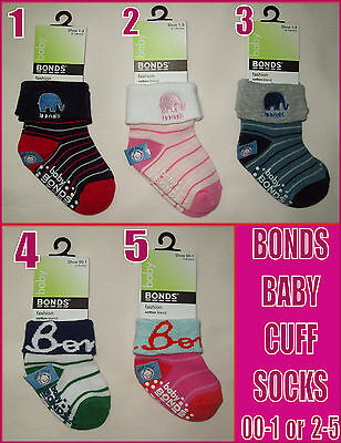 BONDS BABY Anti-Slip Socks GRIP SOLE Sox Sz 00-1 (0-6m) or 2-5 (18m-3y) NEW
