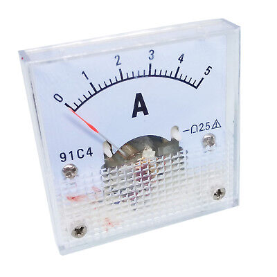 US Stock  DC 0 ~ 5A Analog AMP Current Pointer Needle Panel Meter Ammeter 91C4