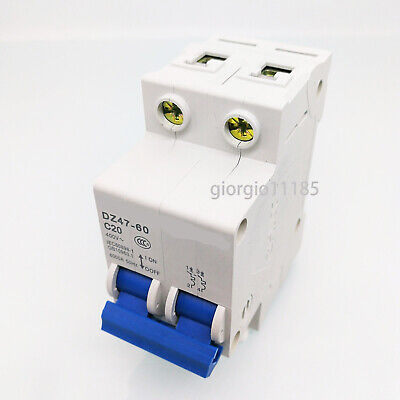 US Stock DZ47-60 C20 2P 20A Rated Current 3 Pole Miniature Circuit Breaker